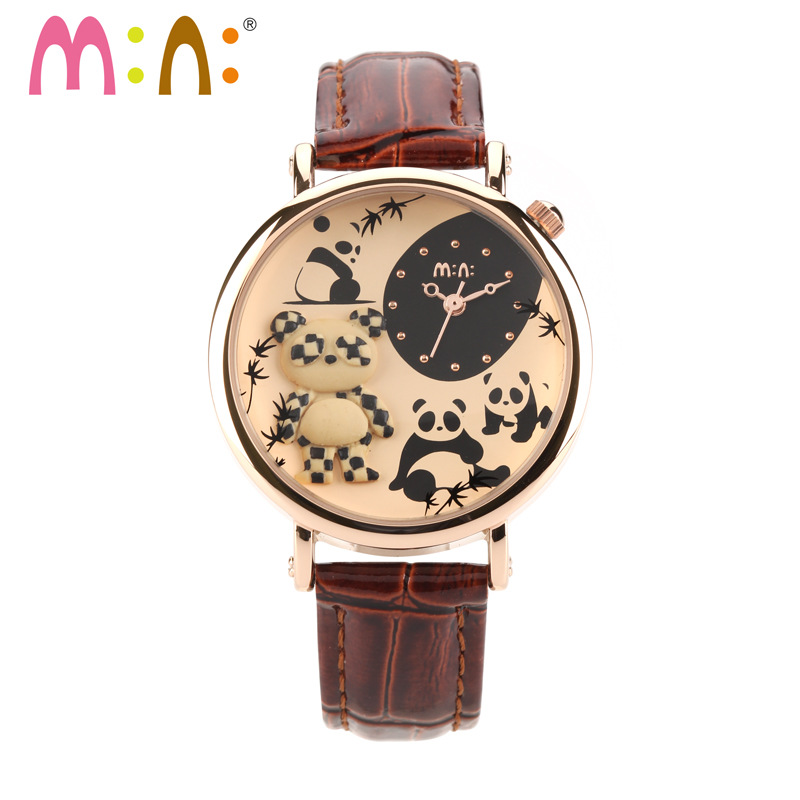 Luxury Brand Women Watches Waterproof Leather Bracelet Ladies Quartz Wrist Watch 3D Panda Watch Clock Hours Relogio Feminino luxury fashion brand bracelet watches women men casual quartz watch leather wrist watch wristwatch clock relogio feminino