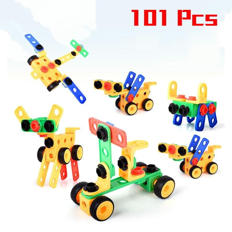 101 Pcs Große Größe Kreative Diy Mutter Kombination Demontage Toolbox Montiert Plastic Blocks Set Kinder Lustige Spielzeug Baby Geschenke Noch Nicht VulgäR