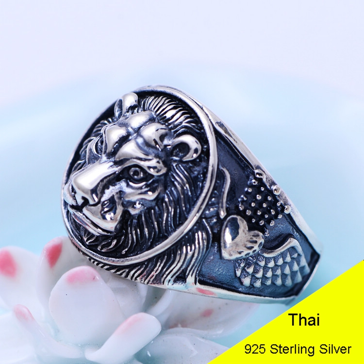 925 Sterling Silver Retro Men Male Animal Lion Head Ring Thai Silver Fine Jewelry Gift Finger Ring CH042203 delicate lion head shape ring for men