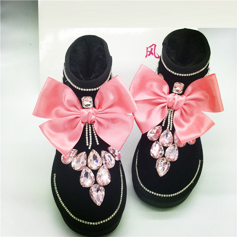 Free Shipping Rhinestone ribbon diamond girl's bling bling fashion Snow Boots and gloves children Boots warm Winter Shoes