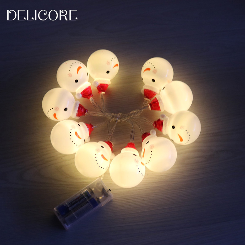 DELICORE Decorative Christmas Cute 10 String Battery LED Light Snowman Fairy Indoor Lights Xmas Party Home Shop Decorations S081