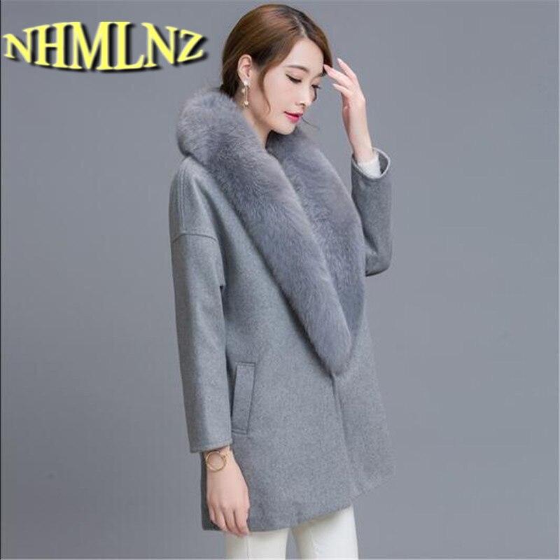 2018 New Autumn Winter Fashion Women Coat Cashmere Black Long Wool Coat With Big Fur Collar Female Warm Overcoat Big yards G2773