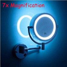 LED латунь косметическое зеркало, настенный зеркало со светодиодной ванной красоты зеркало двусторонний выдвижной зеркало для макияжа складной