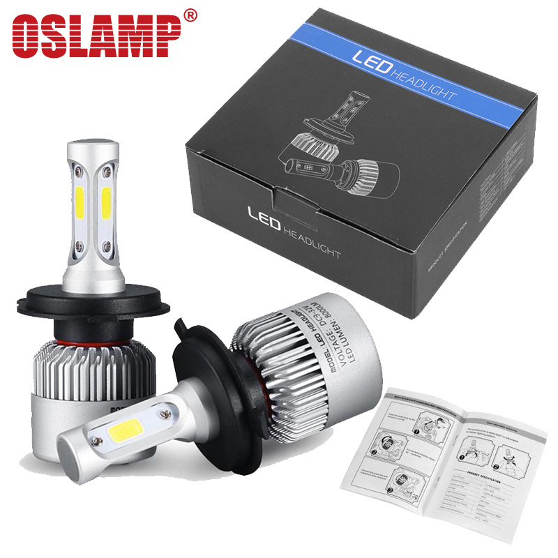 Oslamp COB Chip H4 H13 9004 9007 Hi-lo Beam H7 9005 HB3 9006 HB4 H11 H9 H1 H3 9012 Auto LED Headlight Bulb 8000lm 12V 6500k