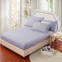 Lenzuolo e federa plaid ragazzi blu/grigio lenzuolo stampato poliestere/cotone materasso lenzuola foglio protettivo con elastico