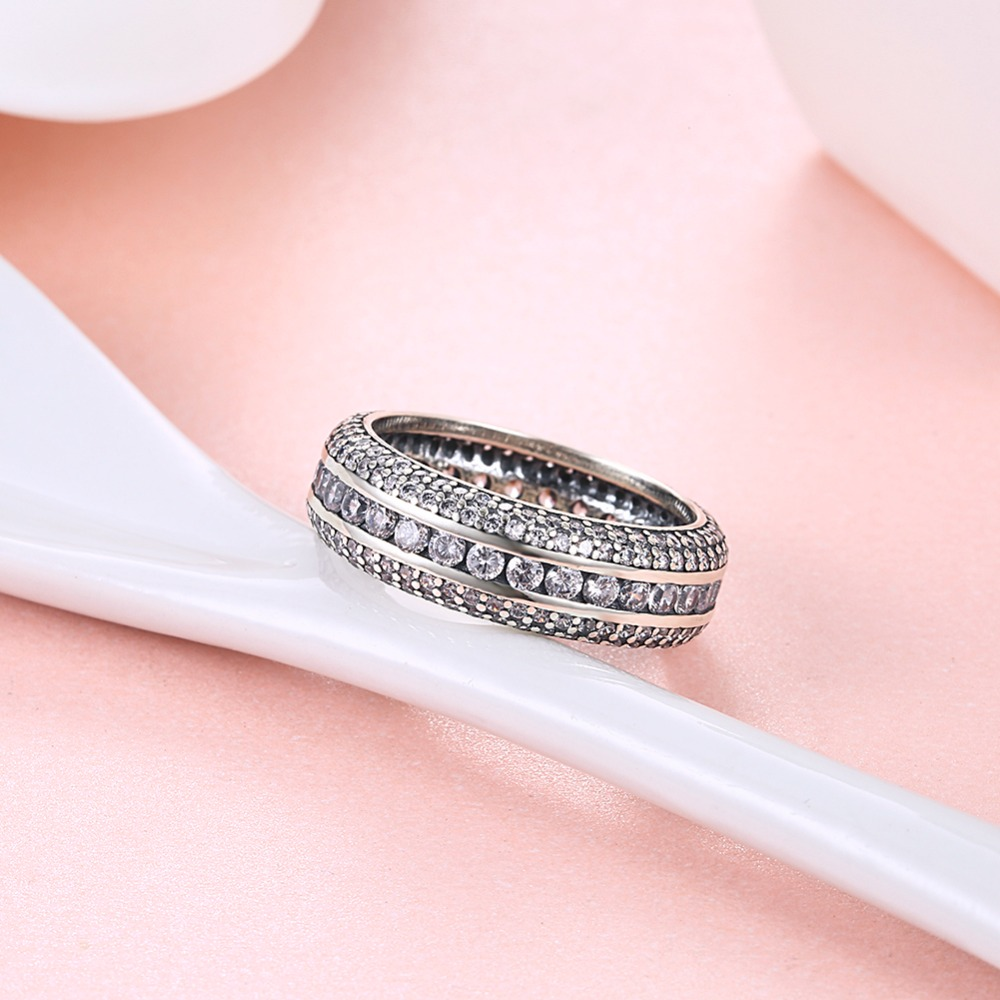 Trendy 925 Sterling Silver Clear Cubic Zirconia Round Finger Rings ...