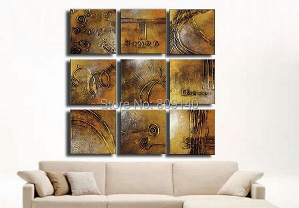 abstract bronze textured oil painting canvas retro artwork handmade home office hotel gallery wall art decor artwork for the office