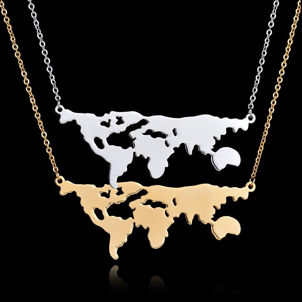 91255199acdf 2017 Nuevo famoso mundo Mapas tierra collar regalo del día Globos  terráqueos Collar para las mujeres 316l Acero inoxidable mundo de la  muchacha joyería