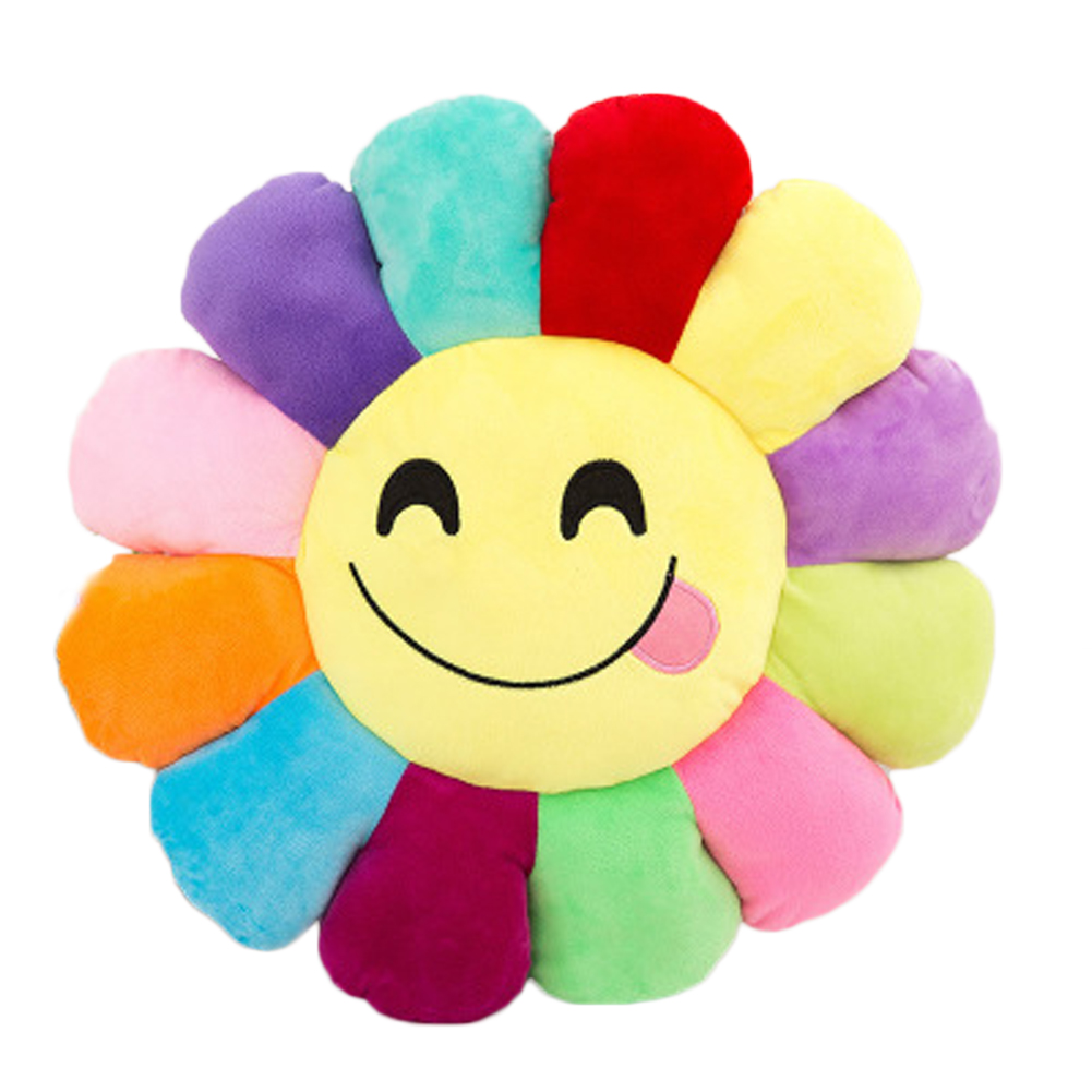 2018 New Colorful flowers Sunflowers QQ Expression Plush Toy Pillow Toys 30CM