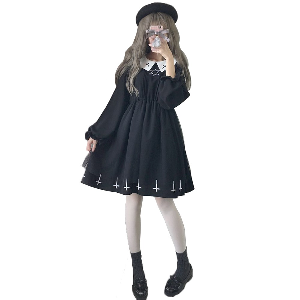 Harajuku Street Fashion Cross Cosplay Female Dress Japanese Gothic Style Star Tulle Dress Lolita Cute Girl Dresses
