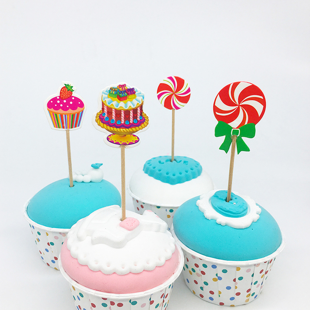 24pcs Lot Candy Design Lollipop Cake Cupcake Toppers Cartoon Theme