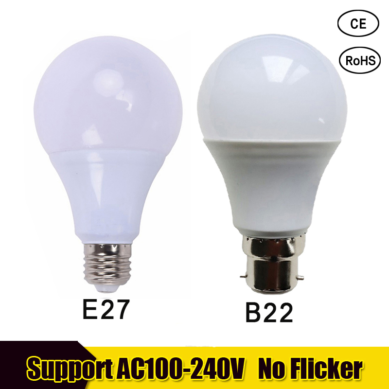 bombilla led e27 LED Bulb 220V 110V 3W 5W 7W 9W 12W 15W 18W B22 SMD2835 LED Spotlight bulb living room Energy Saving Led lamp free shipping of professional 75 72 m22 carbide tipped wall hole saw for air condtiional holes opening on brick concrete wall