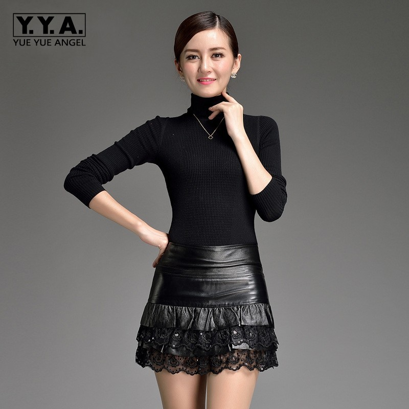 Women Sexy Night Club Sequins Lace Mini Skirts Slim Fit High Waist A Line Genuine Leather Office Work Ladies Skirt Plus Size 3XL black sexy leather lace up side high waist split mini skirt