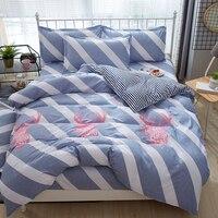 Blue white diagonal stripe bedding set deer Elk duvet cover quilt cover bed sheet Home textiles New pattern Good quality