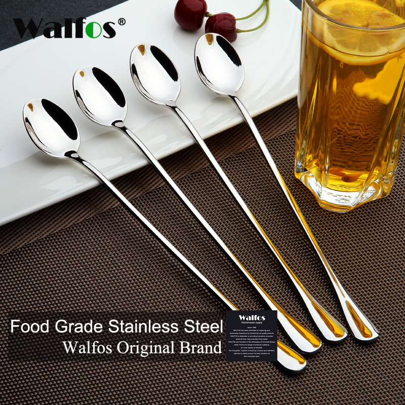 WALFOS Long Handled Stainless Steel Coffee Spoon Ice Cream Dessert Tea Spoon For Picnic Kitchen Accessories