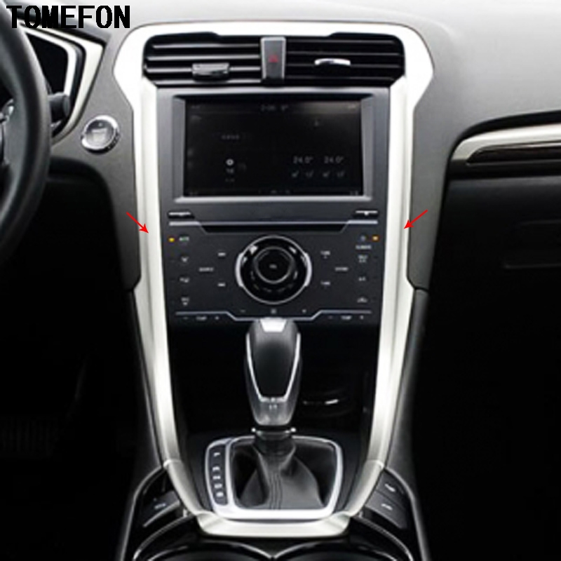 TOMEFON For Ford Mondeo 2013 ABS Carbon Fiber Wood Color Car Front Interior Center Air Vent Navigation Switch Gear Panel Cover цена