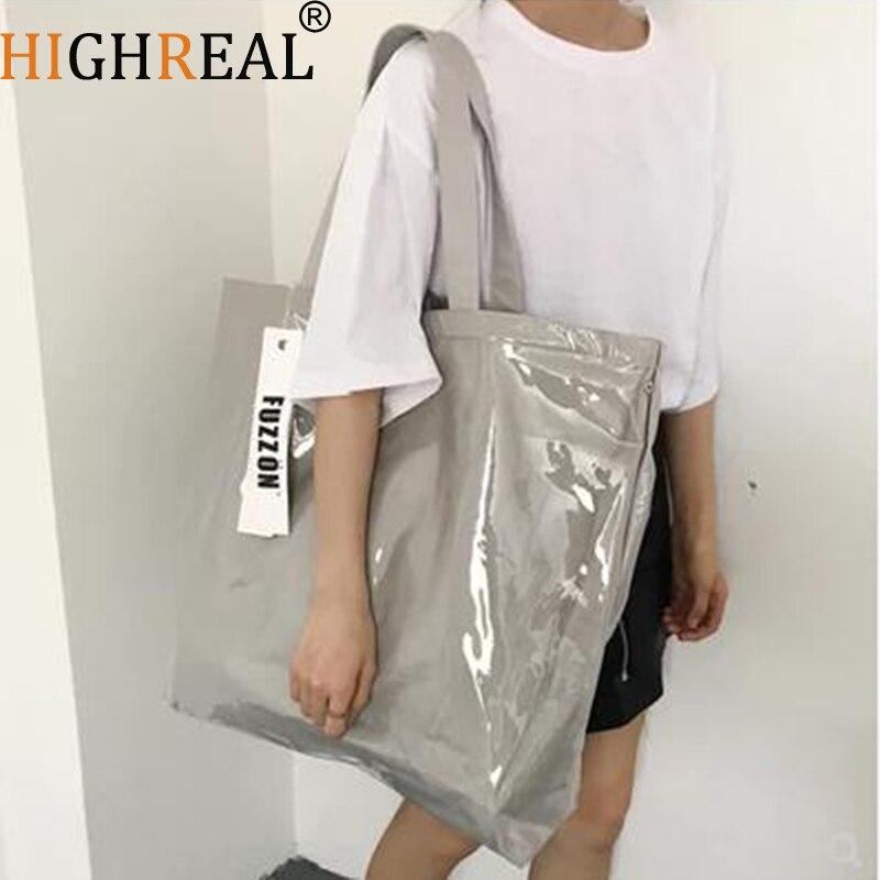 Sacchetto Causale Tote Messaggero Della Borsa New Di Gray Shopping Trasparente Vintage Impermeabile Silver Doppio Pvc Carta Spalla Bag Del Kraft 774Pz
