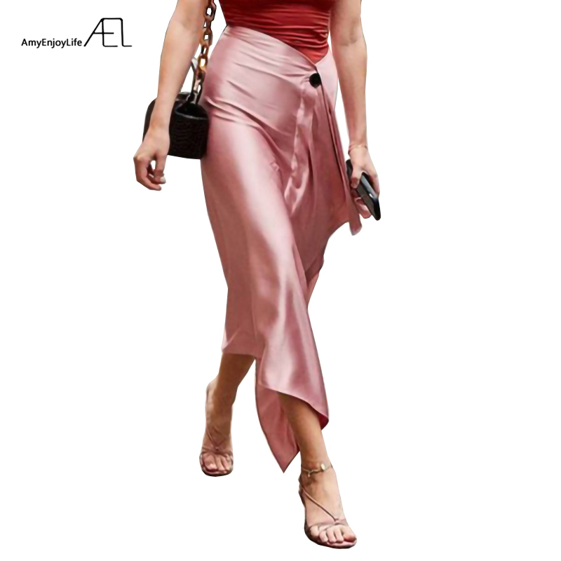 AEL Asymmetric Skirt Woman Retro Long Satin Skirt Fashion Wrap Hip 2019 Summer Femme Austere Midiskirt