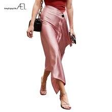 AEL אסימטרית חצאית אישה רטרו ארוך סאטן חצאית אופנה לעטוף ירך 2019 קיץ Femme צנוע Midiskirt אלגנטי Slim גבוהה מותן