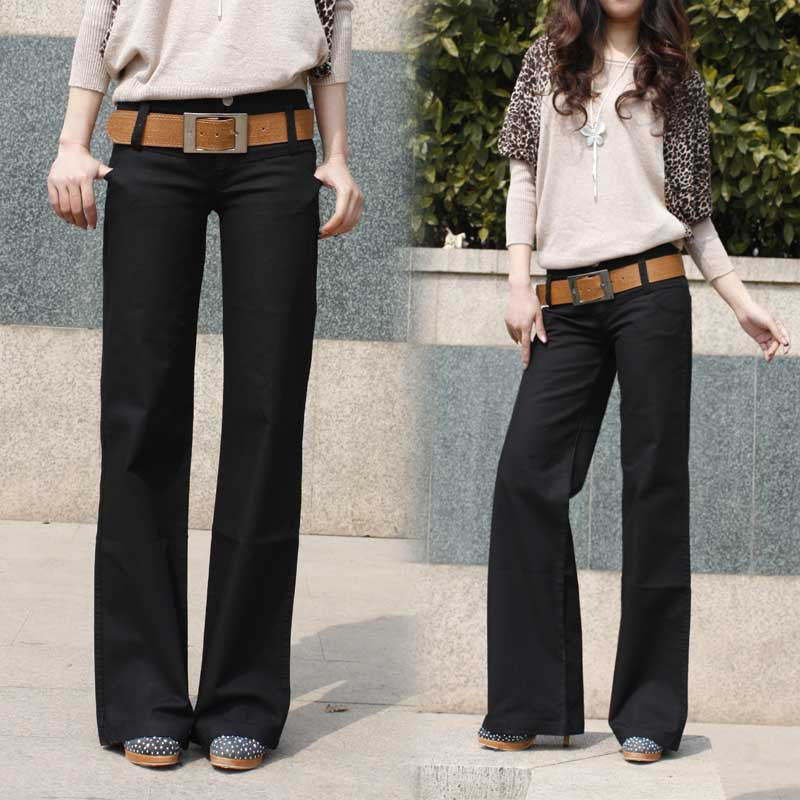 2017 Spring and Autumn new thin straight jeans women casual pants big yards wide leg Trousers fashion pants women A313 anne klein new purple merlot women s 14 straight leg career dress pants $99 087