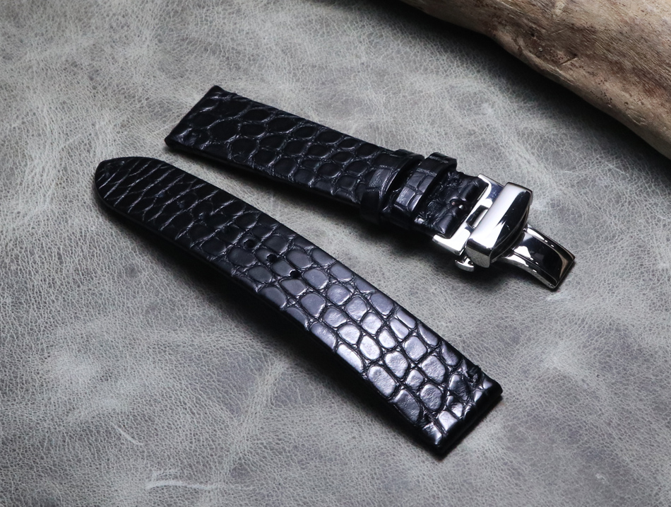 Black thin section 18 19 20 21 22 mm real crocodile leather straps butterfly buckle Luxury upscale handmade Universal Watchband
