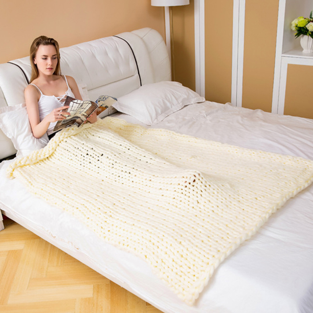 Chunky Knitted Merino Wool Blanket
