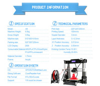 Aluminium Desktop FDM Anet A8 A6 A3s A2 3D Printer Large Printing Size Reprap I3 DIY