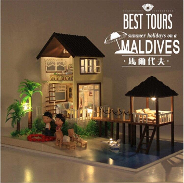 Bricolage en bois maison de poupée avec des meubles lumière musique modèle Kits de construction 3D Miniature maison de poupée jouet cadeaux-Maldives cabine