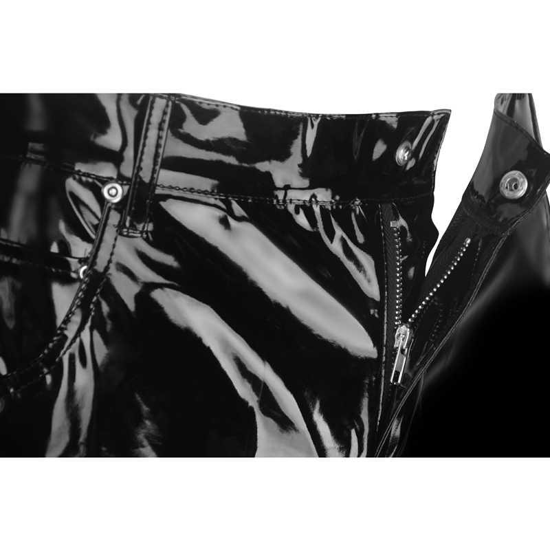 Plus Kích Thước Nam Sexy Đen Wetlook Giả Da Lót Ngoại Lai Quần PU Cao Su Catsuit Dây Kéo NHỰA PVC Giai Đoạn Clubwear Đồng Tính tôn sùng quần