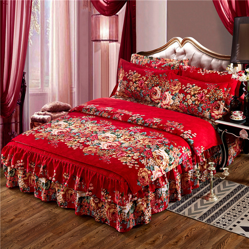 Keep warmThickened double layer lace luxury bedding sets queen king size duvet cover set bed <font><b>skirt</b></font> set pillowcase bedclothes image