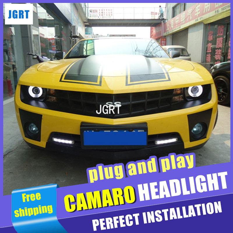 Car Styling Headlights 2010-2012 for Camaro DoubleU Angel Eye LED DRL Lens Double Beam H7 HID Xenon bi xenon lens auto lighting style led head lamp for mazda 3 axe headlights for axela led angle eyes drl h7 hid bi xenon lens low beam