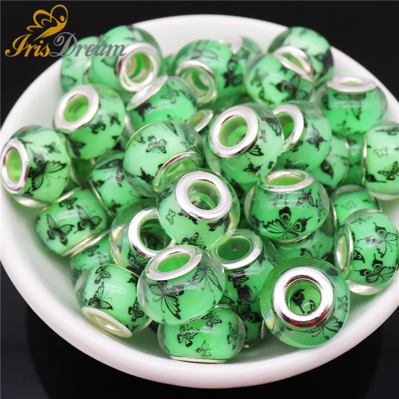 10Pcs New Cute Butterfly Shape Rondelle Spacer Charms Large Hole European Beads fit Pandora Bracelet Necklace for Jewelry Making in Beads from Jewelry Accessories