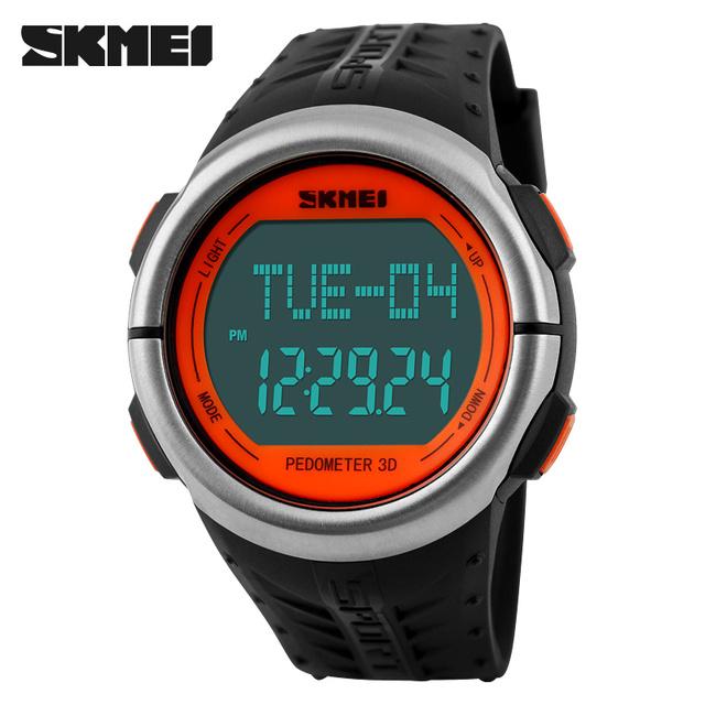 2017 skmei nueva moda podómetro contador de calorías monitor del ritmo cardíaco digital led reloj de los deportes de los hombres al aire libre militar relojes de pulsera