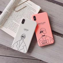 IMIDO The Leon&Matilda TPU Soft Silicone Case For iphone 6/7/8/X Case Simple Anti-fall Lanyard Fashion Phone Case Back Cover evgeny russ fall of matilda