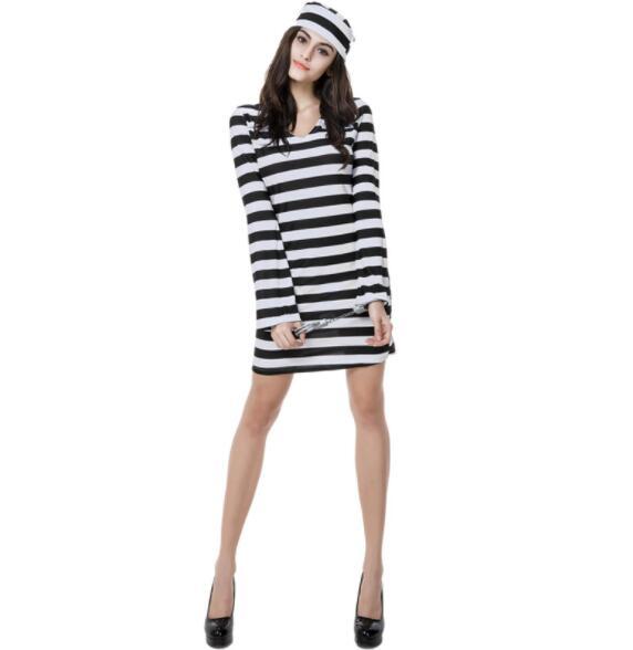 レディセクシーなハロウィン衣装囚人服パーティー服セクシーな大人の女性囚人ショートドレス A142