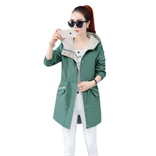 Fashion New Women Hooded Windbreaker Jacket Spring Autumn 2019 Korean Slim Coats Casual Long Ladies Outerwear YH48