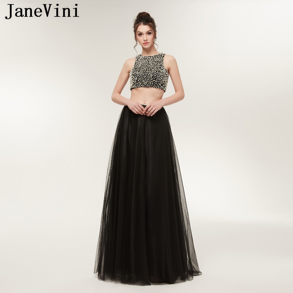 JaneVini Black Two Piece Elegant   Prom     Dresses   2019 O Neck Pearls A Line Floor Length Tulle Plus Size   Prom     Dress   Vestidos De Gala