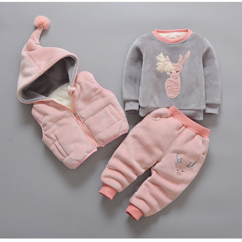 3Pcs Baby Clothes Cashmere Sets Kid Cotton Cartoon Vest+Sweater +Pants Suit For Girls Boys Thickening Clothing Cute Set Suit autumn winter girls children sets clothing long sleeve o neck pullover cartoon dog sweater short pant suit sets for cute girls