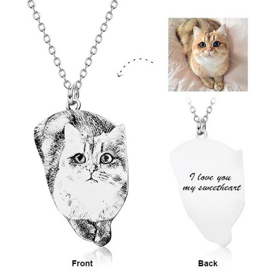 Collier personnalisé 925 argent Sterling personnalisé animaux Photo collier gravé collier réglable 16-20 collier