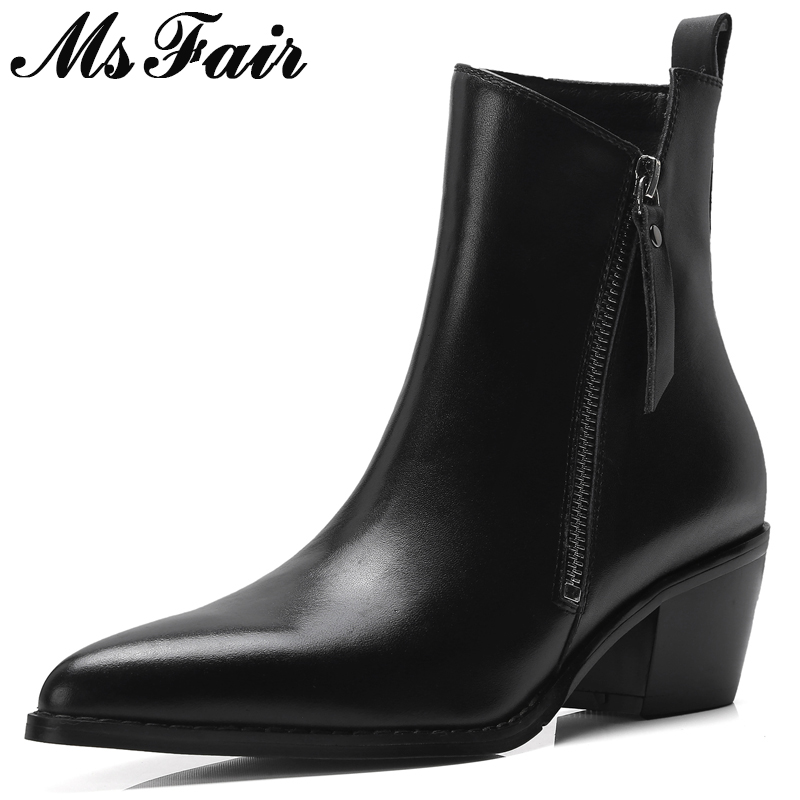 MSFAIR Women Boots Metal Zipper Ankle Boots Women Shoes Pointed Toe High Heel Boots Genuine Leather Black Boot Shoes For Girl msfair women pointed toe high heel boots genuine leather metal buckle women ankle boots winter thin heel ankle boots women shoes