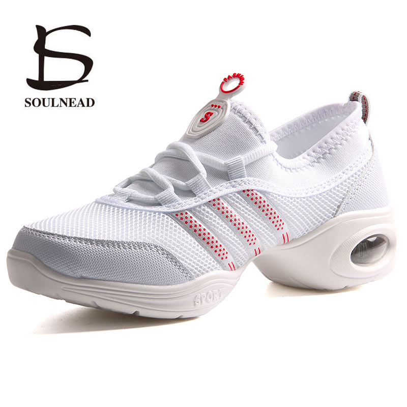 White Black Modern Jazz Dancing Shoes Woman Girls Soft Outsole Breath Sports Feature Dance Sneakers Fitness Practice Dance ShoesWhite Black Modern Jazz Dancing Shoes Woman Girls Soft Outsole Breath Sports Feature Dance Sneakers Fitness Practice Dance Shoes
