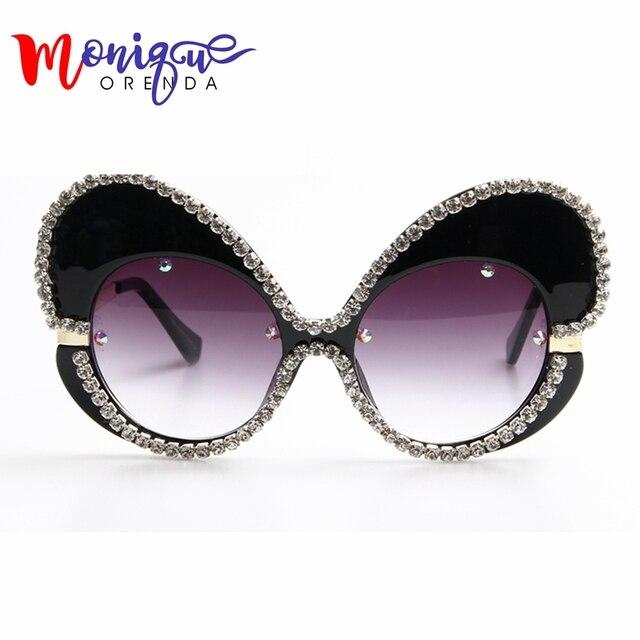 2017 óculos de sol das mulheres designer de marca Borboleta Grande Armação  de Strass óculos de f419cde194f