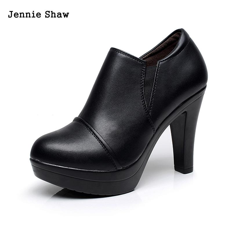 2017 thick heel platform round toe leather shoes small yards women genuine leather black high-heeled shoes female nayiduyun women genuine leather wedge high heel pumps platform creepers round toe slip on casual shoes boots wedge sneakers