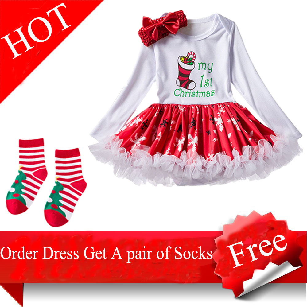 1st Christmas Dress for Baby Girl Toddler Girls Xmas 3PCS Outfits (2 ...