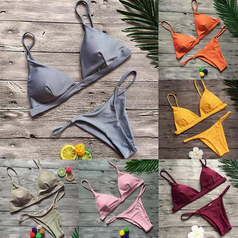 Vertvie женские сексуальные купальники 2 шт пляжные купальники бразильские бикини пуш-ап бикини наборы Женские однотонные сексуальные купальники