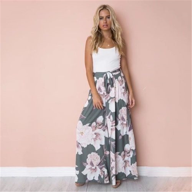 36807da7d21 New Arrival Vogue Women Boho Floral Long Pants Palazzo Baggy Loose Wide Leg  Pants Summer Casual Trousers Holiday style Beachwear