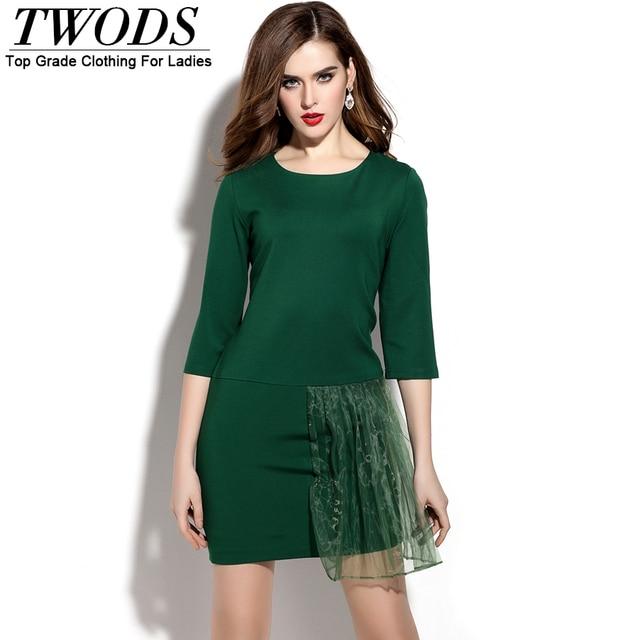 Vestido verde una manga
