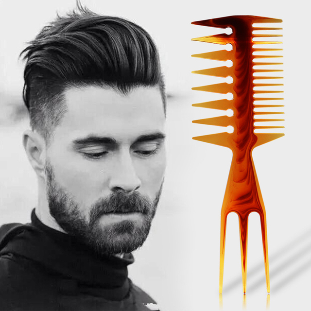 1pcs Plastic Double-Sided Fish Design Teeth Comb Hairdressing Beard Styling Comb Home Use Hair Shaping Template Tools