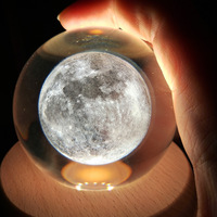 3D Moon Galaxy Elk Lamp K9 Inner carving Crystal Ball Night Light Bedside Decoration Ornament Home party Gift USB powered