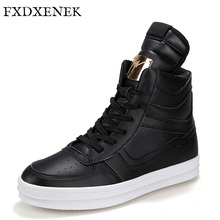 FXDXENEK Brand 2017 Fashion High Top Casual Shoes For Men PU Leather Lace Up Black Mens Casual Shoes Fashion Men Footwear Flats